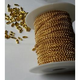 Rouleau chaine boule dorée 2,4mm 50M  acier nickelé